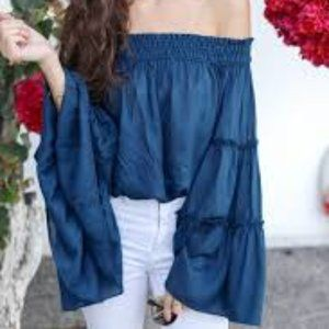 Free People Spirit Off Shoulder Blue Tiered Top